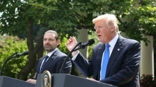 دونالد ترامب خلال مؤتمر صحافي مشترك في البيت الأبيض مع سعد الحريري في 25 تموز/يوليو 2017