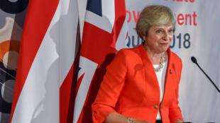 رئيسة الوزراء البريطانية تيريزا ماي سالزبورغ في النمسا في 20 أيلول/سبتمبر 2018