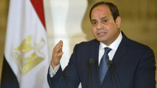Le président égyptien Abdel Fattah al-Sissi s'est déclaré candidat à sa réelection dans un discours le 19 janvier 2018.