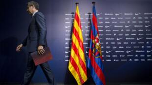 Le président du FC Barcelone, Josep Maria Bartomeu, après une conférence de presse, le 2 octobre 2017.
