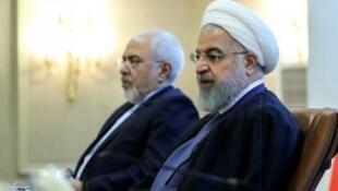 الرئيس الإيراني حسن روحاني ووزير الخارجية محمد جواد ظريف، في 22 يوليو/تموز 2018.