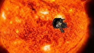 An artist's conception of NASA's Parker Solar Probe, the spacecraft that will fly through the Sun's corona to trace how energy and heat move through the star's atmosphere