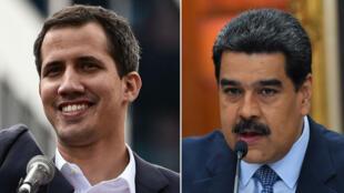 Juan Guaido (à gauche) s'est proclamé président par intérim du Venezuela alors que Nicolas Maduro (à droite) reste président en exercice.