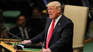 Donald Trump lors de son intervention devant l'Assemblée générale de l'ONU, le 25 septembre 2018.