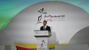 رئيس مدغشقر هاري راجاوناريمامبيانينا يفتتح القمة ال16 لمنظمة الفرنكفونية في انتاناناريفو في 26 تشرين الثاني/نوفمبر 2016