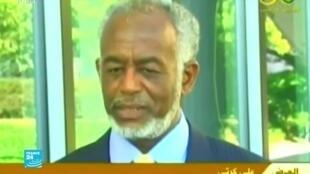 صورة ملتقطة من شاشة فرانس 24 لوزير الخارجية  السوداني السابق علي كرتي