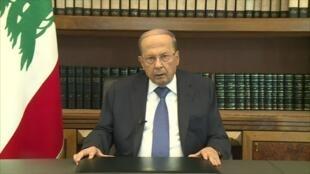 الرئيس اللبناني خلال كلمة ألقاها في 24 أكتوبر 2019.