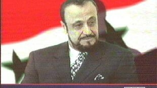 A TV grab shows a photo of Rifaat al-Assad, the exiled brother of Syria's late president Hafez al-Assad, as it appeared on June 12, 2000 on the London-based Arab News Network (ANN) television station, which belongs to his son Sumer