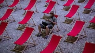 Chairs are spread out to ensure social distancing at an event to replace the now cancelled International Theatre Festival  in Avignon, France