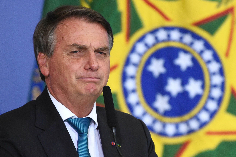 El presidente Jair Bolsonaro, durante un acto público en el palacio de Planalto, el 6 de octubre de 2021 en Brasilia