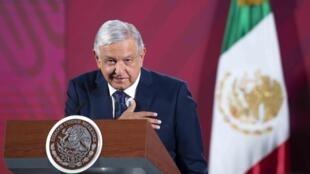 El presidente de México, Andrés Manuel López Obrador, el 24 de marzo de 2020 en el Palacio Nacional de Ciudad de México