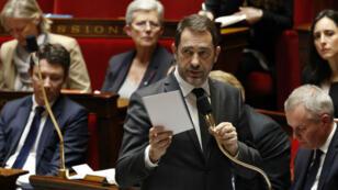 El ministro del Interior francés, Christophe Castaner, habla durante un interrogatorio del gobierno en la Asamblea Nacional. 19 de marzo de 2019.