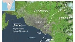 Map of Goma, capital of North Kivu province in DR Congo