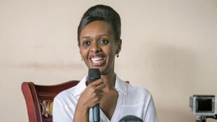 L'opposante rwandaise Diane Rwigara lors de l'annonce de sa canidature à la présidentielle, le 3 mai 2017, à Kigali.