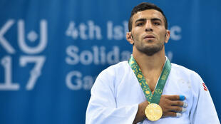 Iran's Saeid Mollaei wins gold at the 2017 Islamic Solidarity Games in Baku, on May 14, 2017.