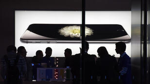 Un Apple Store à Pékin lors du lancement de l'iPhone 6 en 2014.