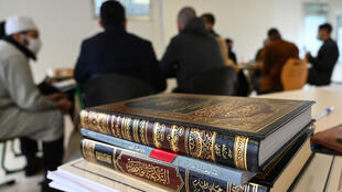 Students attend a Koran study class in central France in October 2020.