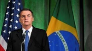 الرئيس البرازيلي جايير بولسونارو يتحدث خلال نقاش حول العلاقات الأمريكية-البرازيلية بغرفة التجارة الأمريكية -واشنطن - 18 آذار/مارس 2019