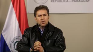 El canciller de Paraguay, Luis Alberto Castiglioni, durante una alocución desde Asunción, Paraguay. 28 de julio de 2019.