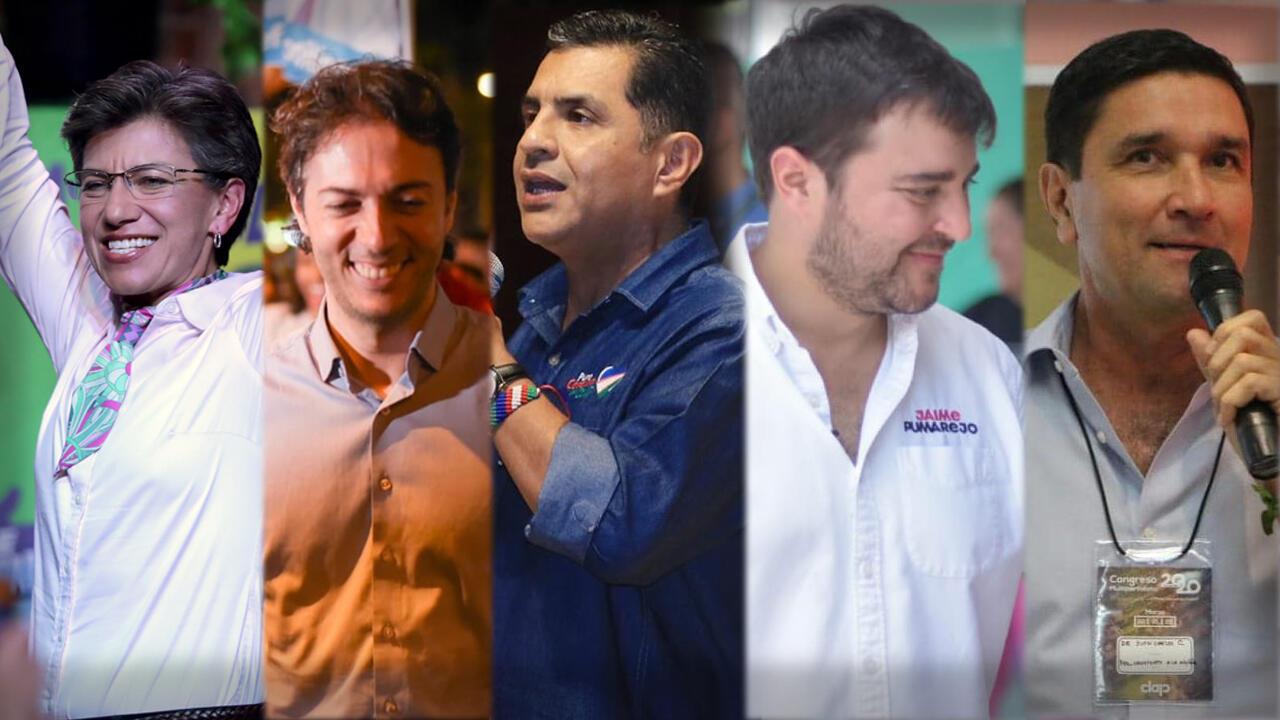 Claudia López, primera alcaldesa de Bogotá, Daniel Quintero alcalde electo de Medellín, Jorge Iván Ospina, alcalde electo de Cali, junto a sus pares de Barranquilla, Jaime Pumarejo y Juan Carlos Cárdenas de Bucaramanga, este 27 de octubre en las elecciones regionales de Colombia.