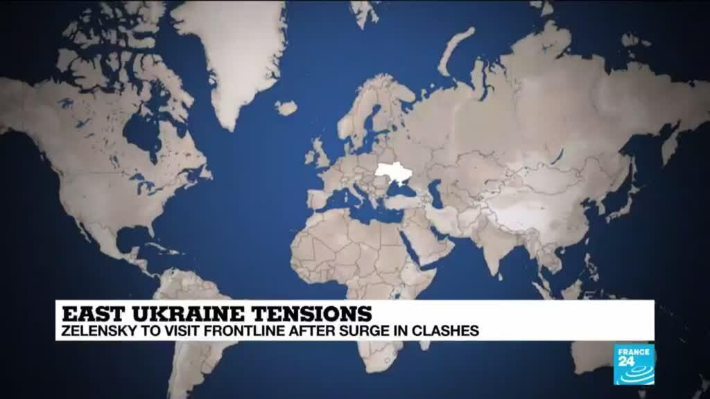 2021-04-08 15:01 Ukraine president visits frontline after surge in clashes