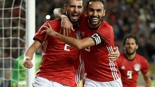 Ahmed Elmohamady (R) celebrates scoring for Egypt against Tunisia last year in a 2019 Africa Cup of Nations qualifier