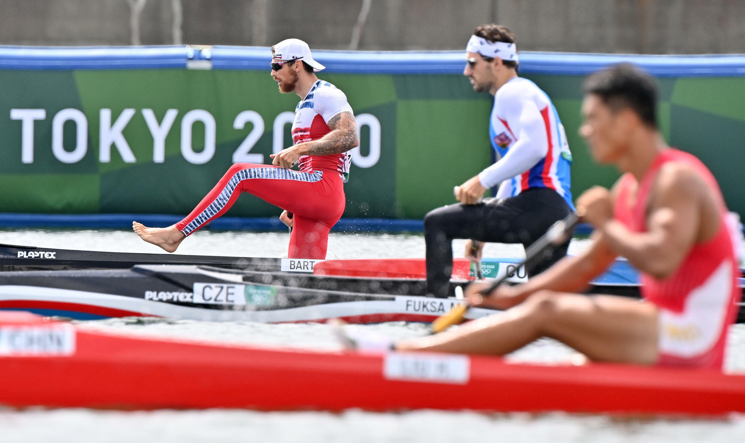 France's Adrien Bart at the end of the semi-final of the canoe line at the Tokyo Games, August 7, 2021