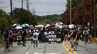 "The UN Human Rights Committee said that ""worldwide protests in support of Black Lives Matter,"" such as this one in Graham, North Carolina on July 11, 2020, have underscored the importance of the right to peaceful assembly"