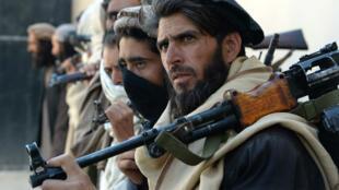 Des combattants talibans remettent leurs armes aux autorités afghanes en 2016.