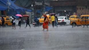 Des habitants de Calcutta tentent de se protéger de la pluie, le 3 mai 2019.