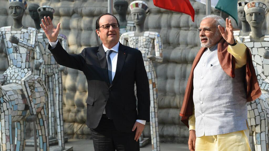 الرئيس الفرنسي برفقة رئيس وزراء الهند نروندرا مودي - 2016/01/24.
