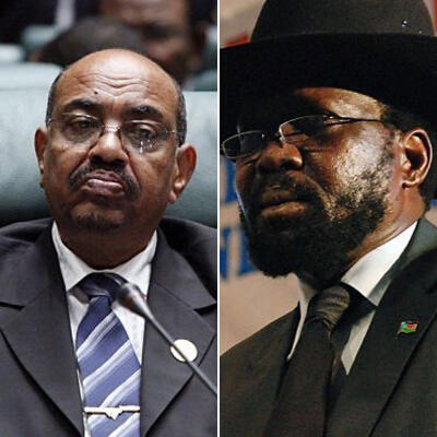 Sudanese President Omar al-Bashir (left) and Vice President Salva Kiir (right), the leaders of the parties to the Comprehensive Peace Agreement that ended two decades of civil war in 2005.