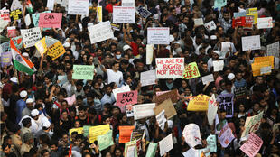 Demonstrators protest against a new citizenship law in Mumbai, India, December 19, 2019.