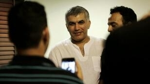 نبيل رجب في منزله في بني جمرة في 14 تموز/يوليو 2015