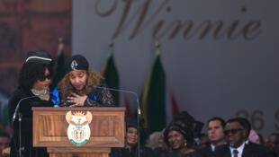 Zindzi Mandela, left, and her sister Zenani Mandela-Dlamini, at the funeral of their mother, Winnie Madikizela-Mandela in April 2018