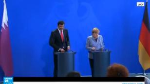أمير قطر خلال مؤتمره الصحفي المشترك مع المستشارة الألمانية ببرلين 2017/09/15
