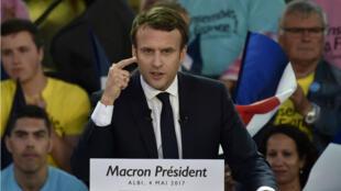 Emmanuel Macron à Albi le 4 mai 2017.