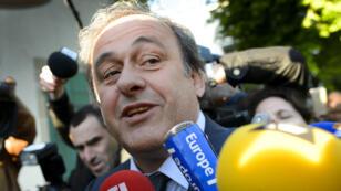 Michel Platini, vendredi 29 avril, lors de son arrivée au Tribunal arbitral du sport de Lausanne en Suisse.