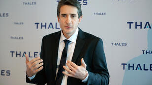 Le PDG de Thales, Patrice Caine, donne une conférence de presse à La Défense, le 23 février 2016.