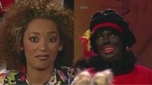 """La réaction de Mel B (Spice Girls), devant un sketch avec un """"blackface"""", sur une télévision néerlandaise en 1997."""