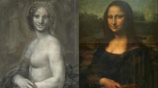 """La """"Joconde nue"""" conservée au musée de Condé à Chantilly, et la Joconde de Léonard de Vinci, conservée au musée du Louvre à Paris."""
