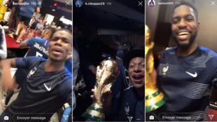 Captures d'écran des stories Instagram de Paul Pogba, Kylian Mbappé et Samuel Umtiti.