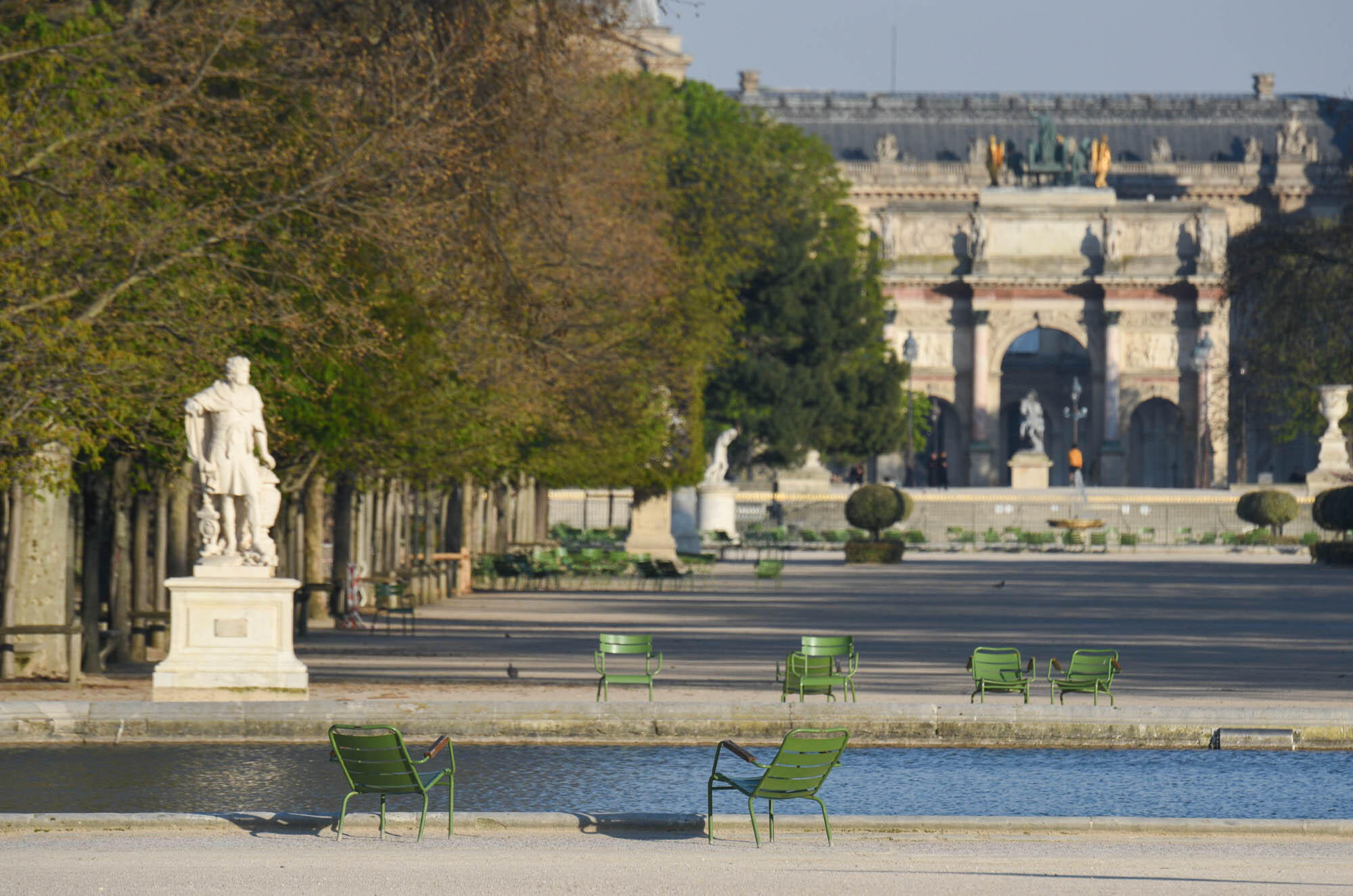 Paris parks have been closed since the beginning of the lockdown, which helps explain why so many people are now running in the streets. Here, empty chairs are seen at the iconic Jardin des Tuileries.