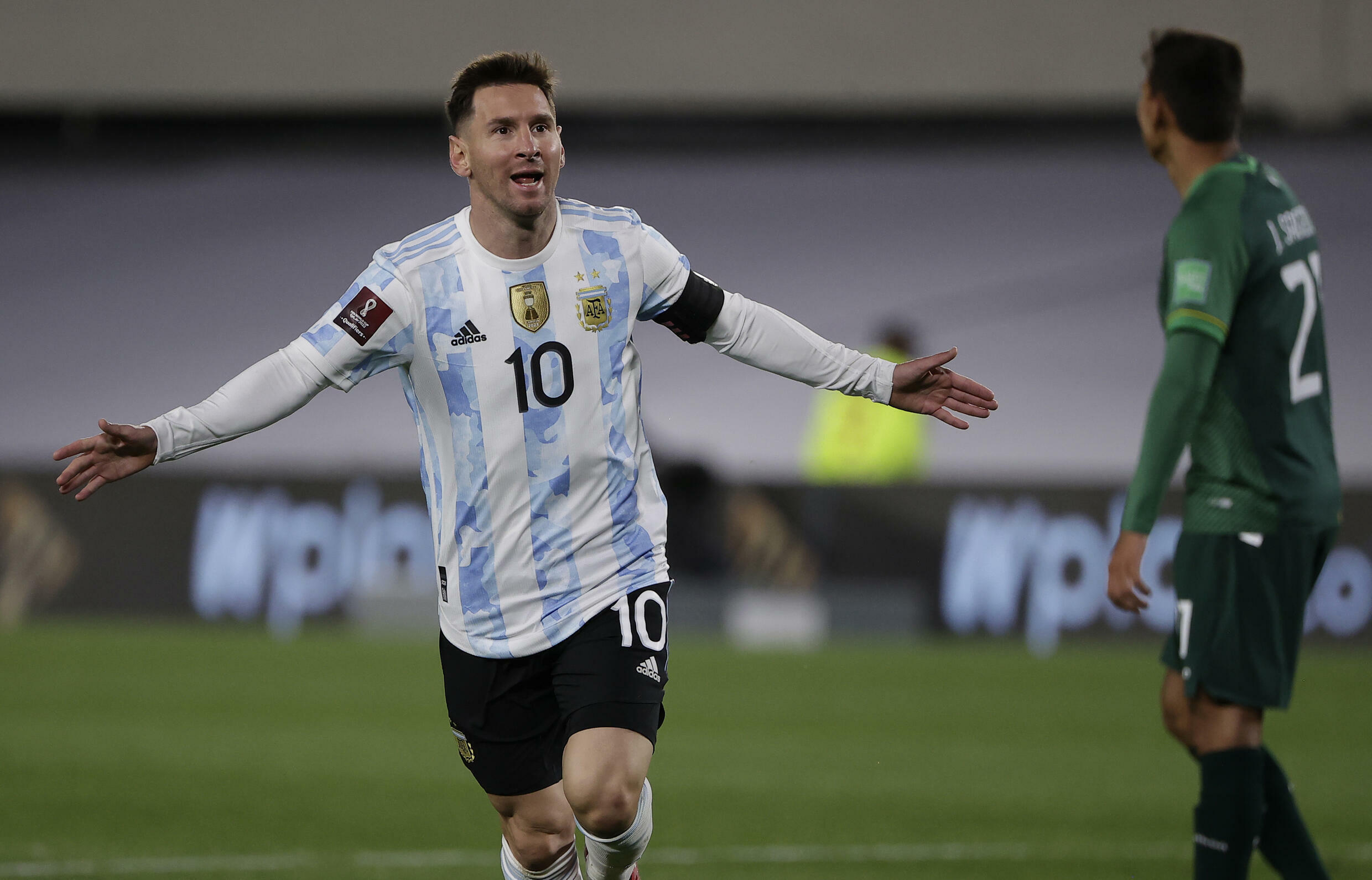 Argentina's Lionel Messi celebrates after scoring against Bolivia in a World Cup qualifier on Thursday