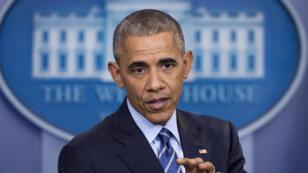 Barack Obama tient une conférence de presse à la Maison Blanche, le 16 décembre 2016.