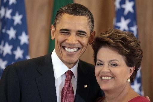 La présidente brésilienne Dilma Rousseff avec Barack Obama