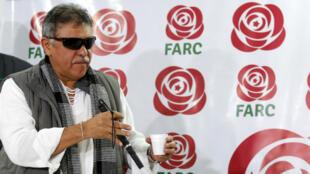 Jesús Santrich durante una conferencia de prensa en Bogotá, Colombia, el 16 de noviembre de 2017.