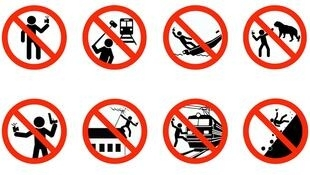 The ministry's campaign includes warning signs of dangerous 'selfie' behaviour.