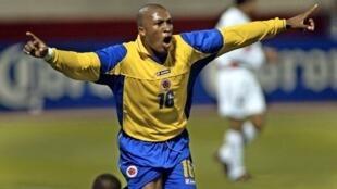 Edwin Congo celebra un gol durante el partido de la Copa América 2004 disputado entre Colombia y Perú el 12 de julio de aquel año en la ciudad peruana de Trujillo