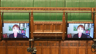 A handout photograph from the UK Parliament shows Green Party MP Caroline Lucas speaking via video link during Prime Minister's Questions in the House of Commons in London.